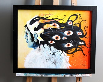 Queen with multiple eyes and burning crown original acrylic painting. Surreal original artwork. Creepy painting. 16x20 inches frame included