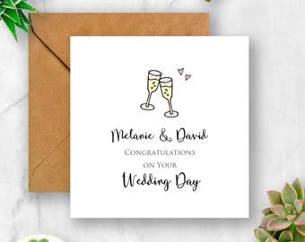 Personalised Wedding Congratulations with Champagne Glasses Card, Wedding Card, Wedding Day Card, Card for Wedding, Congratulations Wedding