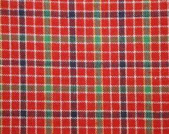 Plaid Material | Cotton Homespun Material | Red Window Pane Plaid Material | Primitive Material | Cotton Rag Quilt Material