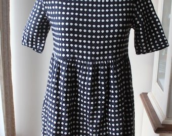 White Polka Dot on Black Short Wide Dress, XXS