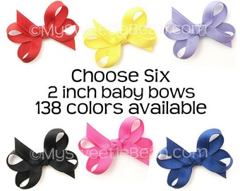 2 Inch Hair Bows, Choose from 138 Colors, Set of 6 Baby Girl Bows, 2 Inch Boutique Bows, No Slip Baby Snap Clips, Infant Hair Bows