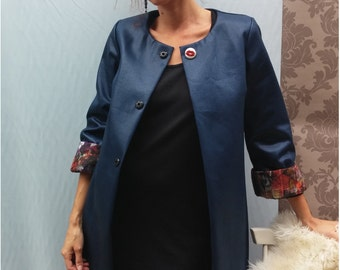 Long jacket in midnight blue cotton coat.14415.