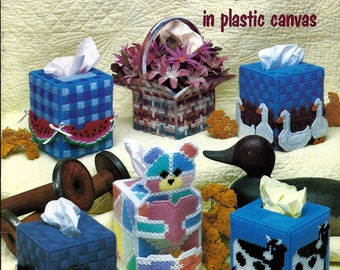 Country Tissue Box Covers in Plastic Canvas Pattern Book American School of Needlework 3051