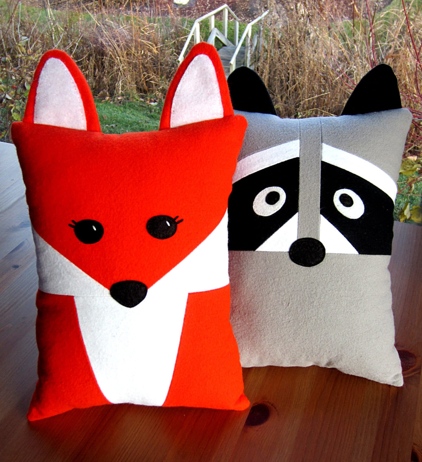 Fox & Raccoon Pillow Toy Pattern PDF Sewing Tutorial Baby Felt Animal, Tooth Fairy Pocket Accent Pillow Toddler to Tween