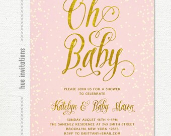 blush pink gold baby shower invitation, oh baby girl baby shower invitation, pastel pink gold foil confetti printable shower invitation 213