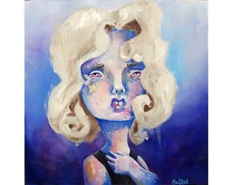 Starchild - original lowbrow oil painting by ela steel - oil on wood sad depressed - blue purple square