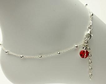 Ladybug Ankle Bracelet, Ladybug Charm Dangle Adjustable Sterling Silver Ankle Bracelet, Anklet