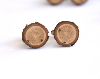 oak - ONE PAIR of natural wood cuff links