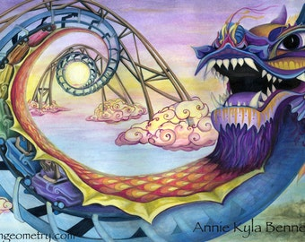 Adventures of Sunset. Visionary Art by Annie Kyla Bee. Canvas & Paper Prints. Chinese Luck Dragon Rollercoaster Golden Spiral Ride at Sunset