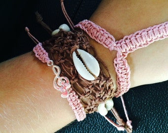 Sea Shell Cuff Bracelet with Sea Shells, Adjustable