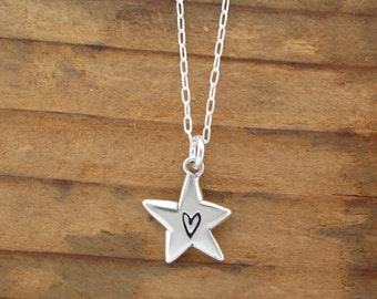 Sterling Silver Star Necklace - Cute Star with Heart Pendant