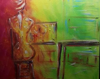 Donna allo specchio, acrylic canvas
