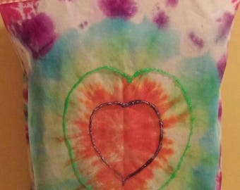 Tie Dyed Heart embellished  cotton Tote