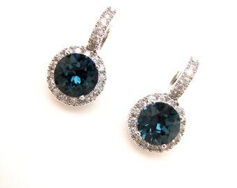 bridal earrings wedding jewelry prom AAA cubic zirconia deco swarovski round montana navy rhinestone white gold click style leverback hoop
