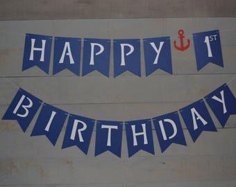 Nautical Birthday Banner,  Nautical Birthday Them, First Birthday Banner, Blue Banner, Birthday Party Decorations