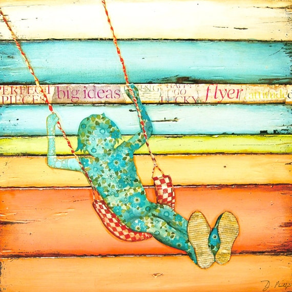 ART PRINT or CANVAS Little Girl Child Swinging painting reclaimed wood collage nursery all home decor vintage children's room gift,All Sizes