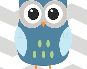 Woodland Nursery Decor, Owl Nursery Print, Fox Nursery Decor, Boy Nursery, Boy Woodland Bedroom, Playroom Decor, Blue Owl Print - 8x10