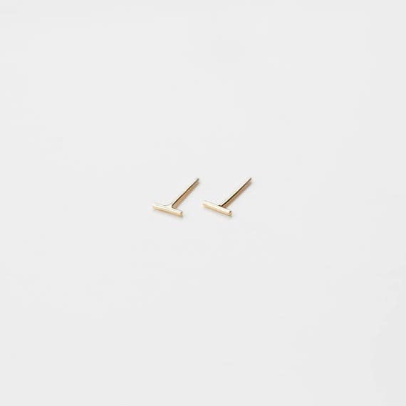 Tiny Bar Stud Earrings, Bar Stud Earrings, Tiny Studs, Earrings, Simple Earrings, E001 by Etsy