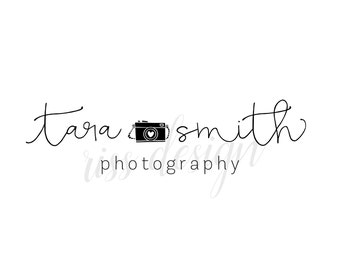 Premade Logo for Photography Business - Photography Business Logo / You choose colors / Calligraphy logo for your business with a camera