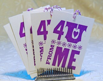 4U Purple Letterpress Gift Tag
