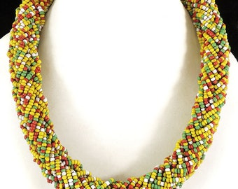 Beaded Rope Necklace Seed Beads Chad Africa 31 inches 114970
