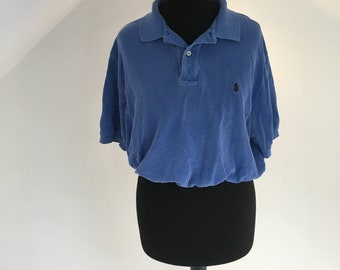 Women's vintage Royal blue Ralph Lauren polo crop top