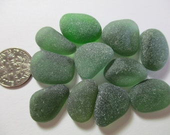 GENUINE SEA GLASS 18mm Flawless Dark Green Gems 11 Real Surf Tumbled Natural Unaltered Undrilled Frosty Beach Nuggets Seaglass Beads U 912