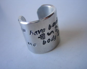 Pride and Prejudice Metal Stamped Aluminum Wide Band Ring - You have bewitched me body and soul - Jane Austen - Mr Darcy - Darcy Proposal