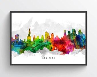 New York City Skyline Poster, New York City Art, New York City Decor, Cityscape, Home Decor, Gift Idea, USNYNY12P