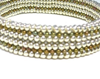 Herringbone weave Millicent's Mesh deco beaded bangle bracelet: Instant Downloadable Pattern PDF File
