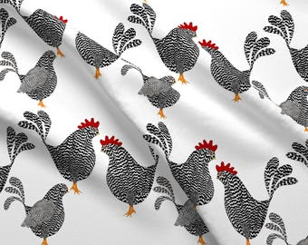 Chicken Rooster Fabric - Chick, Chick, Chickens By Vo_Aka_Virginiao - Barred Plymoth Rock Chicken Cotton Fabric By The Yard With Spoonflower