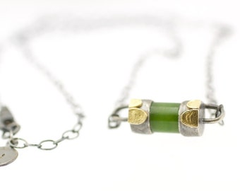 Lichen Polar Jade Bar Necklace Sterling Silver 18k Gold Recycled Metal Modern Style