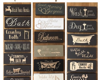 Bathroom Signs, Bathroom Decor, Wooden Signs, Powder Room Sign, Mini Wood Signs, Rustic Home Decor Relax Soak Unwind, Farmhouse Decor Rustic