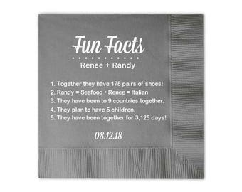 100 Trivia Personalized Napkins Birthday Wedding Trivia Napkins Fun Fact Napkins Beverage Luncheon Dinner and Guest Towels Available!