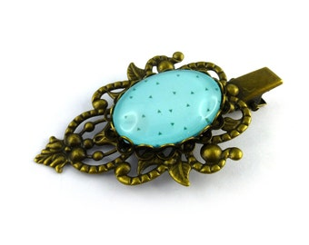 Small turquoise barrette mint, small triangles, metal color bronze aged, to pinch in hair