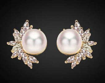 "PAIR GOLD Leaf Floral Pearl Crystal Bridal Wedding Tunnels Gauges Plugs Earrings 0g 00g 7/16"" 1/2"" 9/16"" 5/8"" 11/16"" 8mm 9mm 11mm 12mm"