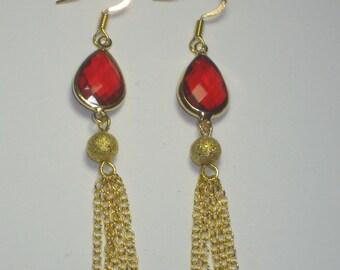 Red Tear Drop with Gold Chain Earrings,Earrings,Jewelry,Gold Earrings,Gift for Her,Dangle Earrings,Chain Earrings,Evening Earrings