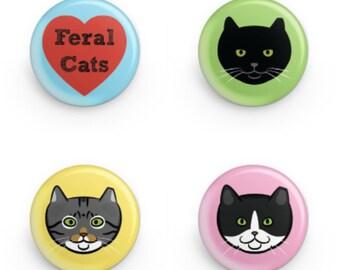 Feral Cat Button Set