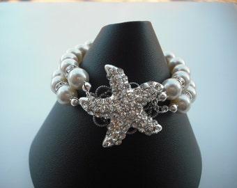 Sarfish Version 4, Beach Theme Wedding, Bridal Bracelet, Rhinestone Crystal Bracelet, Vintage Style Jewelry, Weddng Jewelry
