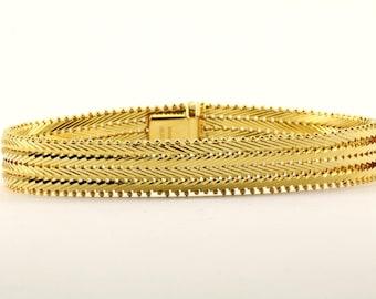 Vintage Flexible Herringbone Design Gold Tone Link Bracelet 925 Sterling BR 1495-E