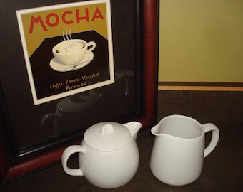 Vintage Arabia Finland White Covered Teapot and Pitcher