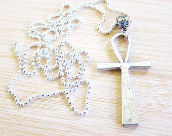 Egyptian Ankh Pendant Necklace Silver Plated Ball Chain