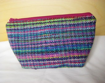 Knitting Project Bag with Hand Woven Fabric / Cotton Lined Wedge Project Bag -FREE SHIPPING in Canada