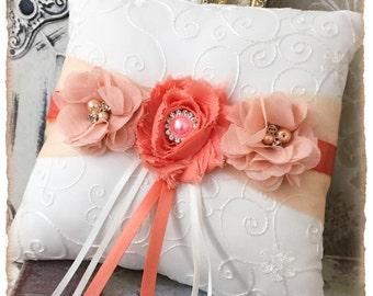 Wedding Ring Bearer Pillow, Wedding Ring Pillow, Peach Coral Wedding Pillow, Peach Wedding Accessories