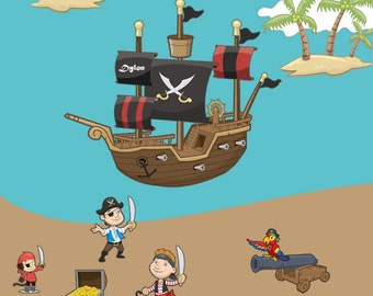 Mural of Pirate Ship & Pirate Wall Decals
