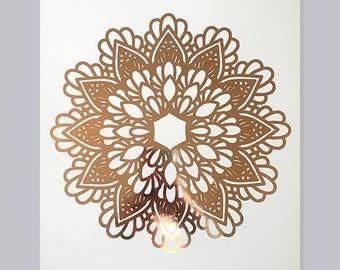 Mandala Flower #2 - White 300gsm Card - Rose Gold
