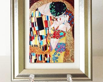 Art Print, Klimt Print, Small Framed Print, The Kiss Klimt, Gustav Klimt, Miniature Print, Home Decor