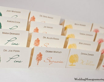 Autumn Trees - Colorful Fall Escort Cards or Place Cards Tent Style or Flat Card Style