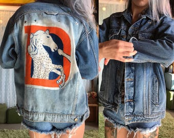 Hand Painted Vintage Denver Broncos Denim Jacket Bedazzled Jean Jacket made in brazil size m