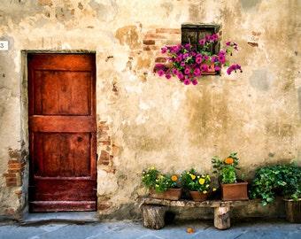 Old Door, Pienza Italy, Door With Flowers, Bench, Old Door Photo, Rustic Door Print, Brown Door, Door Wall Decor, Fine Art Photography